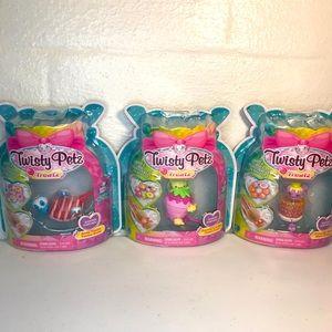 3 Twisty Petz Treatz Bracelets Bear Panda Kitty